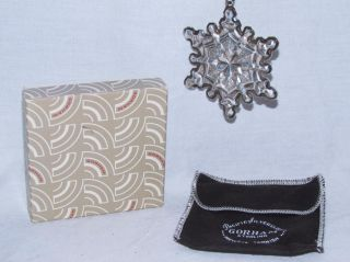 Gorham Sterling Silver 1971 Annual Snowflake Ornament With Box And Pouch photo