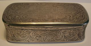 A Large,  Heavy,  Quality Victorian Table Snuff Box (110 Grammes) Birmingham 1864 photo
