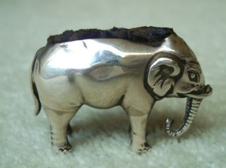 Small Antique Solid Silver Elephant Pin Cushion Circa 1900 photo