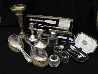 Solid Hallmarked & Sterling Silver Collection Candlesticks Napkin Rings Cutlery photo