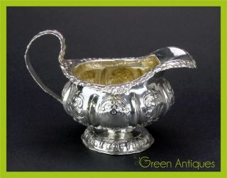 Antique 19thc Georgian Solid Silver Hand Engraved Cream Jug,  London C.  1833 photo