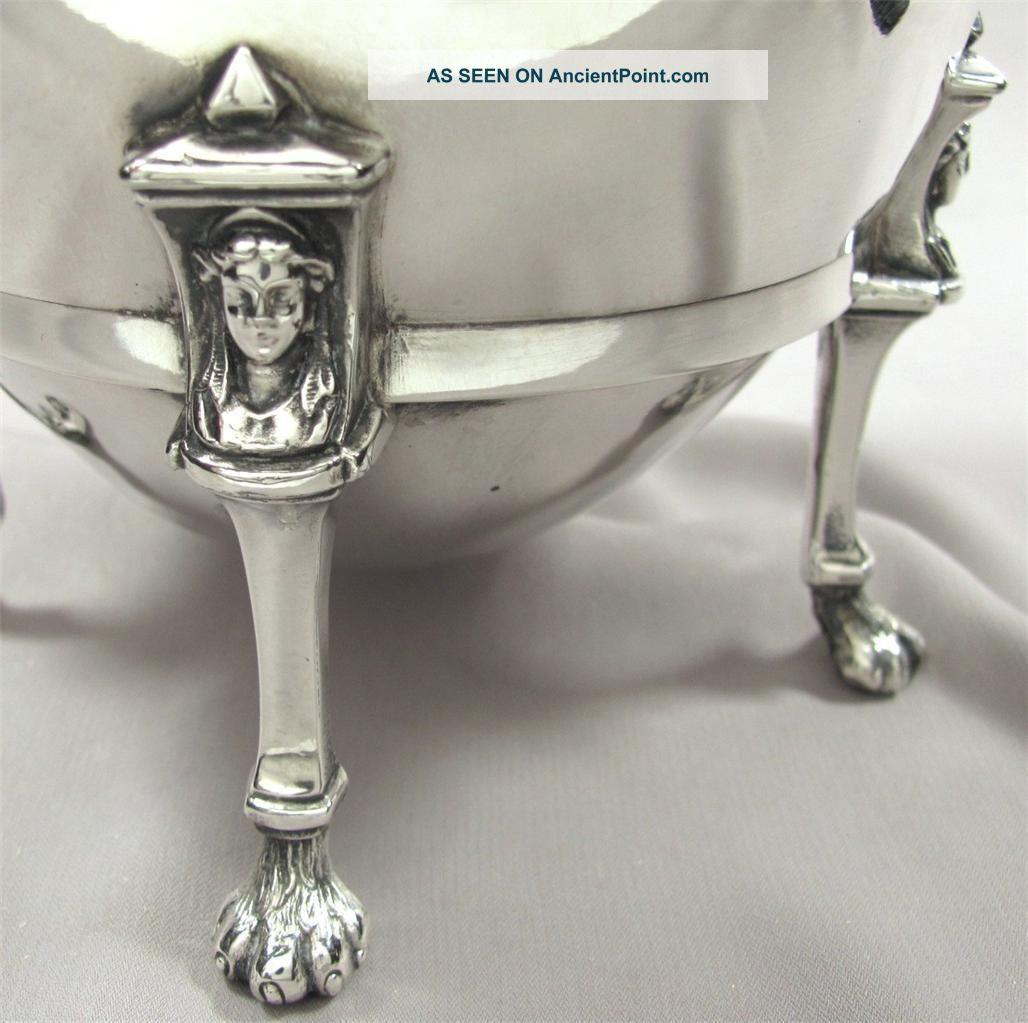 Victorian Figural Silver Plate Teapot,  Reed & Barton Paw Feet,  Egg Form,  Antique Tea/Coffee Pots & Sets photo