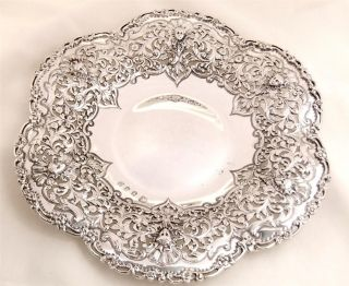 Antique Hallmarked Sterling Silver Pierced Head Dish/plate - Glasgow 1900 - 231g photo