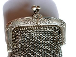 Sterling Silver Shell Chippendale Style Purse 38 Grams photo