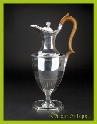 Antique 20thc Edwardian Solid Silver Coffee Pot,  Harrison Bros & Howson C.  1902 photo