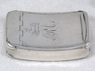 Georgian Sterling Silver Hinged Top Pocket Snuff Box By William Pugh Dated 1813 photo
