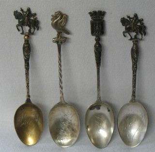 French Sterling Silver Souvenir Spoon Set Of 4 photo