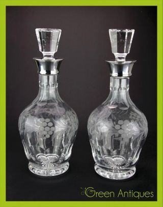 Antique Style Solid Silver & Cut Glass Pair Of Decanters,  Birmingham C.  1976 photo