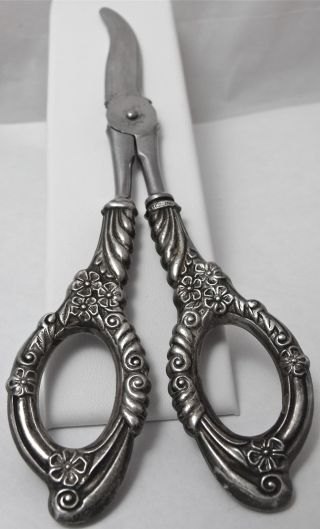 Antique Sterling Silver Ornate Floral Repousse Grape Vine Fruit Scissors Shears photo