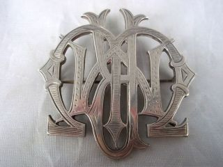 C1875 Solid Silver Monogram Brooch photo