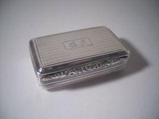 An Antique George Iv Silver Snuff Box : Birmingham 1826 photo