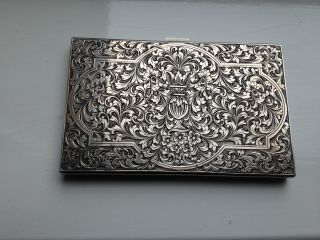 Stunning Heavy Italian 800 Fine Silver Hand Engraved Cigarette Case,  C1930s photo