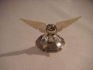 Antique Silver Knife Rest With Mother Of Pearl Wings By James Dixon & Son 1904 photo