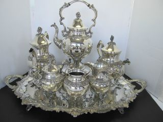 7 - Pc.  Magnificient Goldfeder Tea & Coffee Set - Grapes & Vine Pattern photo