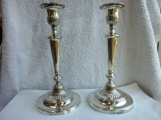 Stunning Pair George Iii Sterling Silver Candlesticks - Sheff/lond 1806/09 photo