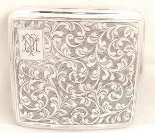 Antique Hallmarked Sterling Silver Cigarette Case - 1928 - 112g photo