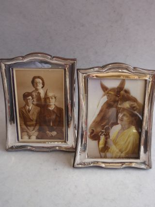 Pair Sterling Silver Picture Frame Hallmarked Chester 1928 And 1953 photo