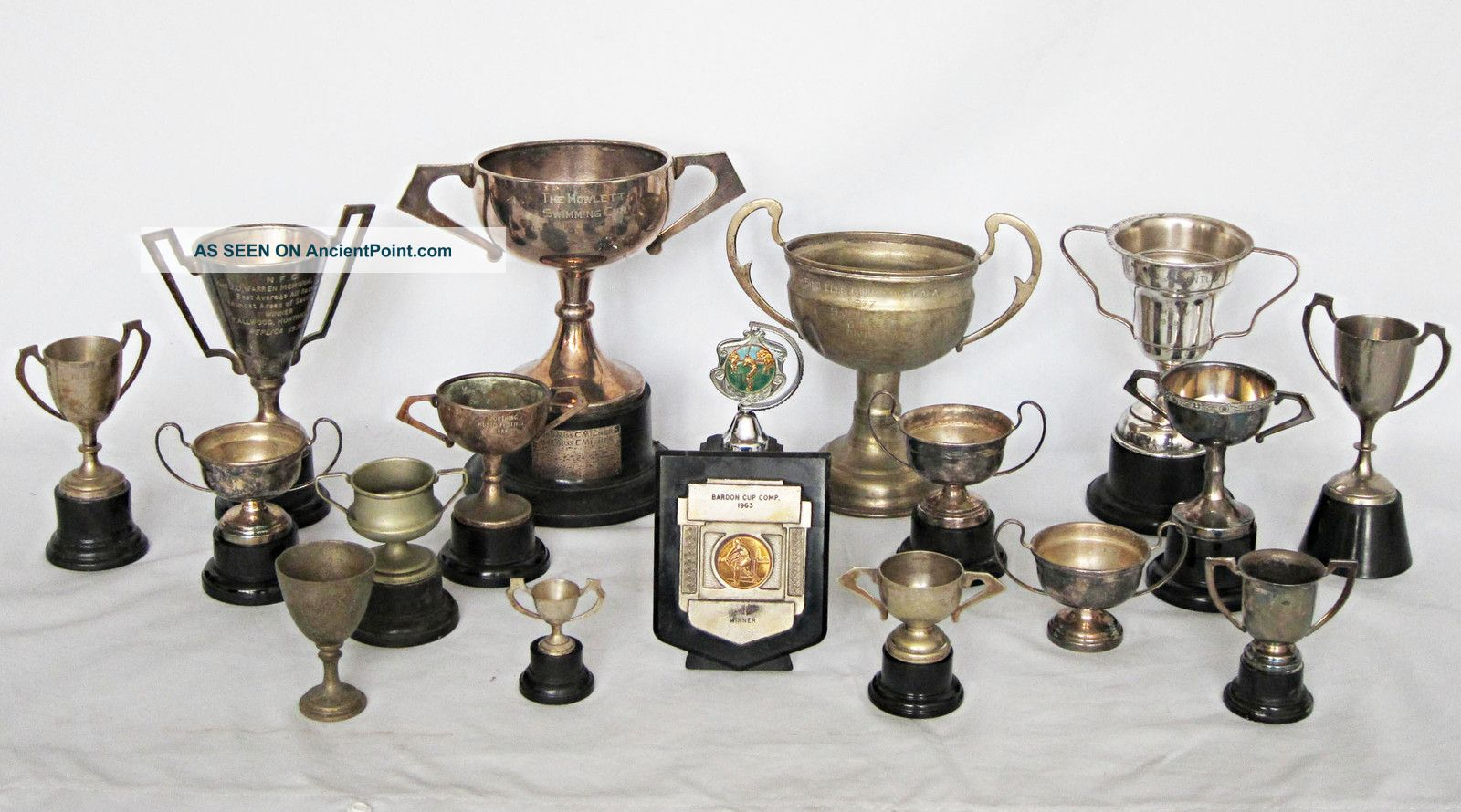 Collection Of Vintage Silver Plated Trophy Cups Cups & Goblets photo