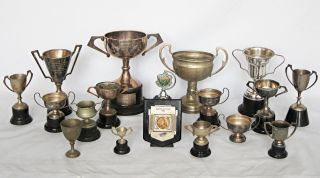 Collection Of Vintage Silver Plated Trophy Cups photo