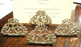 Solid Silver Menu/place Card Holders Set By Hamilton & Inches Rare Scots Silver photo