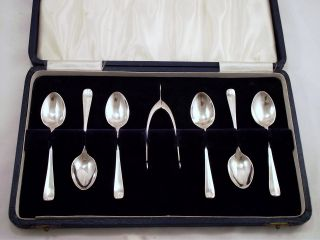 Six Sterling Silver Demi - Tasse / Coffee Spoons & Wish Bone Sugar Tongs - 1937 photo