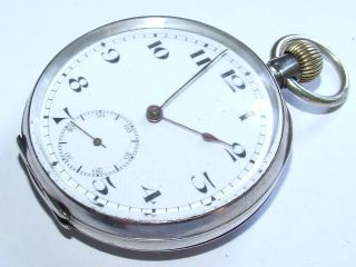 Looking,  C1910 Solid Silver Gents Pocket Watch Working photo