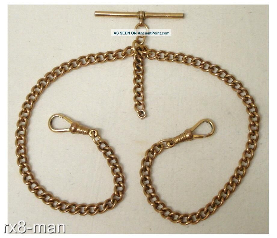 Vintage Rolled Gold Double Albert Pocket Watch Chain - T Bar + 2 Clasps Pocket Watches/ Chains/ Fobs photo