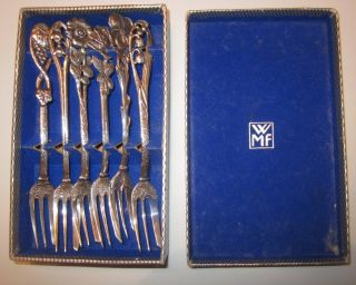 Vintage Solid Silver German Pastry Forks Christoph Widmann Wmf Box 3 Oz photo