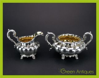 Antique 19thc Victorian Solid Silver Sugar Bowl & Cream Jug,  London C.  1840 photo