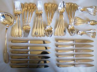 Vendome Shell Pattern Silver Flatware Set For 12 Compatible W/ Christofle photo
