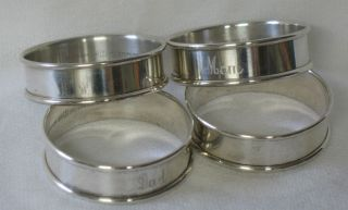 Gorham Sterling Silver Set Of 4 Napkin Rings Mom Dad photo