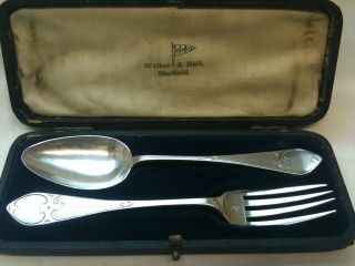 Antique Solid Silver Christening Set In Box Birmingham 1870 Ref 1716/1 photo