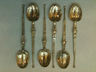 Set Of Six Antique Continental White Metal Coffee Spoons Ref 777 photo