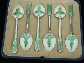 Stunning Cased Set Of 6 Silver & Enamel Tea Spoons Workmanship Hm 1933 photo