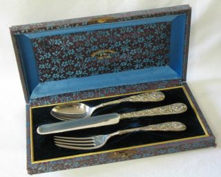 Gorham Eglantine C.  1870 Sterling Silver Christening Set Fork Spoon Knife photo