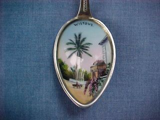 Antique Sterling & Enamel Wistowe Bermuda Souvenir Spoon Gorgeous Silver $1 Nr photo