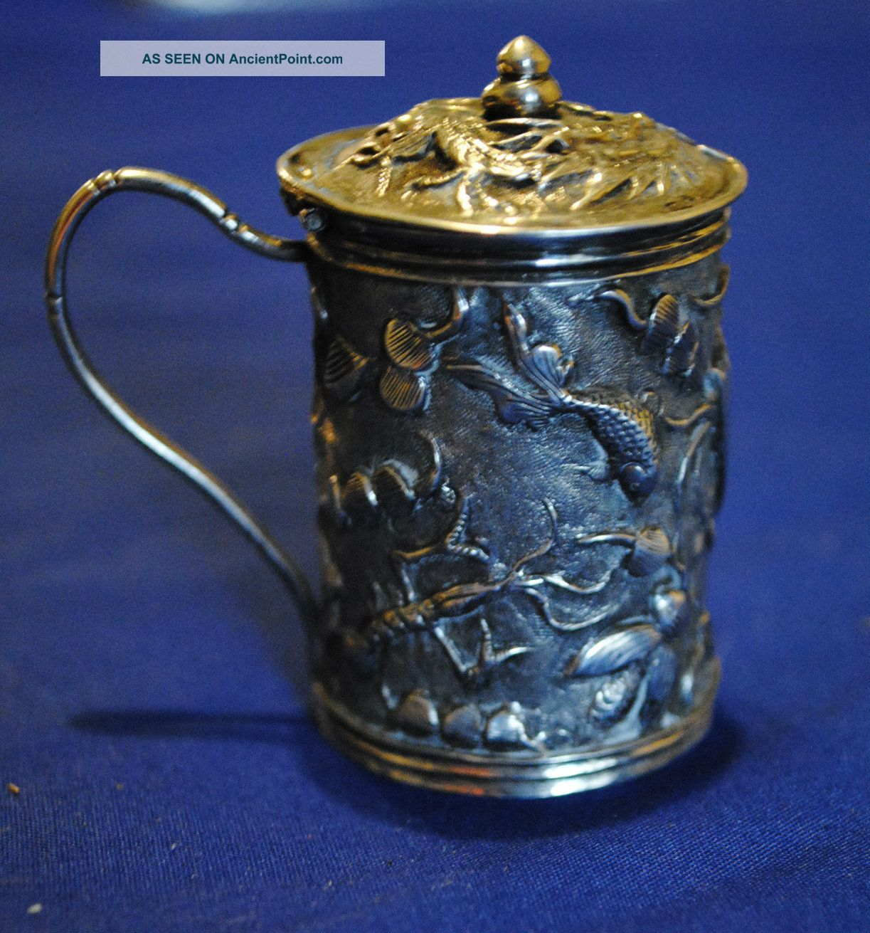 Fine Chinese Export Repousse Sterling Silver Mustard Pot Marked Ho,  Chinese Mark Mustard Pots photo