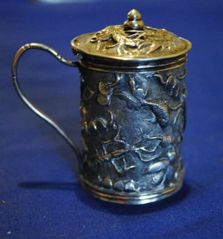 Fine Chinese Export Repousse Sterling Silver Mustard Pot Marked Ho,  Chinese Mark photo