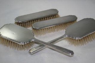Antique Sterling Solid Silver Hair Brush Set Of 4 Hm Birmingham 1956 photo