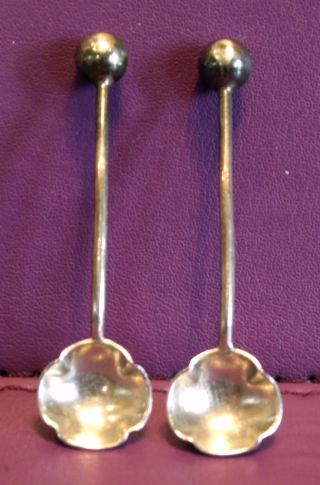 Pair Of Solid Silver Salt Spoons With Clover Shape Bowl Sheffield 1899 photo