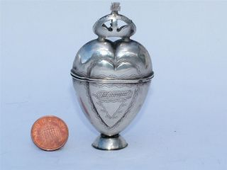 Rare 19th Century Silver Scandinavian Hovdvansaegs Spice Bottle Marriage Gift photo