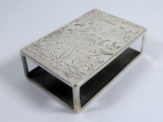 Stunning Antique English Solid Silver Matchbox Holder By Sampson Mordan. photo