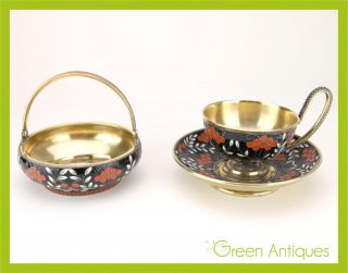 Antique 20thc Russian Solid Silver & Enamel Sugar Bowl,  Tea Cup & Saucer C.  1950 photo