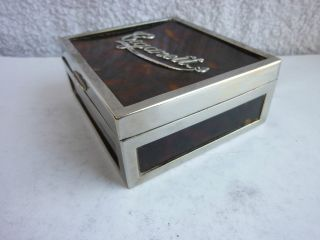 Vintage Silver Faux Tortoiseshell Cigarette Box - Birmingham 1912 photo