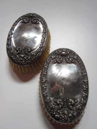 Antique Sterling Silver Repousse Gentlemen ' S Clothes Vanity Brushes photo