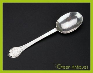 Antique 18thc Scandinavian Solid Silver Hand Engraved Dog - Nose Spoon C.  1715 photo