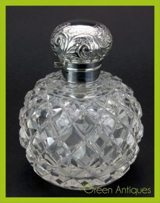 Antique 20thc Edwardian Solid Silver & Cut Glass Perfume Bottle,  Sheffield C1910 photo