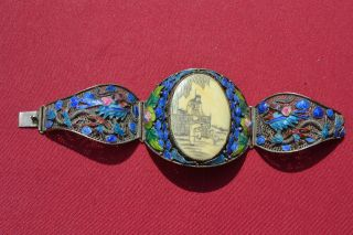 19th Century Antique Chinese Bracelet - Enamel And Sterling - Gorgeous photo
