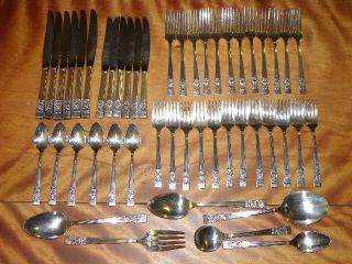 48 Pieces Vintage Community Plate Coronation Pattern Silverplate Flatware. photo