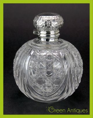 Antique 20thc Victorian Solid Silver & Cut Glass Perfume Bottle,  Sheffield C1901 photo